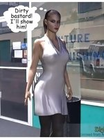 An angry woman walks down the street and is on her way to see the boss man about a problem she is having. When she gets there, he sees her dressed up